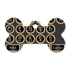 Black And Gold Buttons And Bars Depicting The Signs Of The Astrology Symbols Dog Tag Bone (one Side)