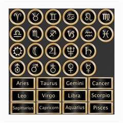 Black And Gold Buttons And Bars Depicting The Signs Of The Astrology Symbols Medium Glasses Cloth