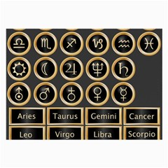 Black And Gold Buttons And Bars Depicting The Signs Of The Astrology Symbols Large Glasses Cloth (2 Side)