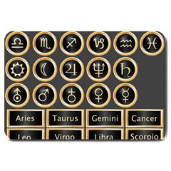 Black And Gold Buttons And Bars Depicting The Signs Of The Astrology Symbols Large Doormat