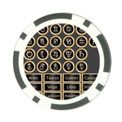 Black And Gold Buttons And Bars Depicting The Signs Of The Astrology Symbols Poker Chip Card Guard