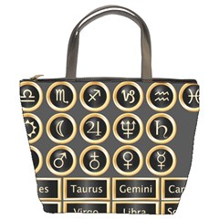 Black And Gold Buttons And Bars Depicting The Signs Of The Astrology Symbols Bucket Bags