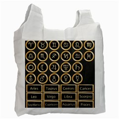 Black And Gold Buttons And Bars Depicting The Signs Of The Astrology Symbols Recycle Bag (one Side)