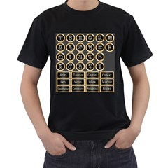 Black And Gold Buttons And Bars Depicting The Signs Of The Astrology Symbols Men s T-Shirt (Black)