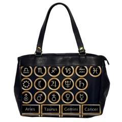 Black And Gold Buttons And Bars Depicting The Signs Of The Astrology Symbols Office Handbags