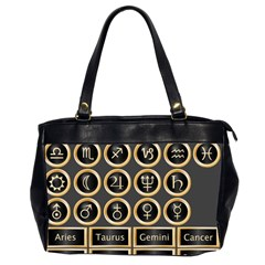 Black And Gold Buttons And Bars Depicting The Signs Of The Astrology Symbols Office Handbags (2 Sides)