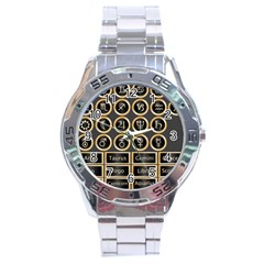 Black And Gold Buttons And Bars Depicting The Signs Of The Astrology Symbols Stainless Steel Analogue Watch