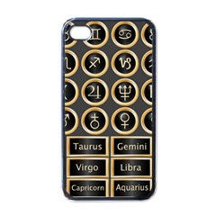 Black And Gold Buttons And Bars Depicting The Signs Of The Astrology Symbols Apple Iphone 4 Case (black)