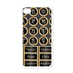 Black And Gold Buttons And Bars Depicting The Signs Of The Astrology Symbols Apple Iphone 4 Case (white)