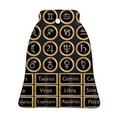 Black And Gold Buttons And Bars Depicting The Signs Of The Astrology Symbols Ornament (bell)