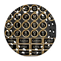 Black And Gold Buttons And Bars Depicting The Signs Of The Astrology Symbols Round Filigree Ornament (two Sides)