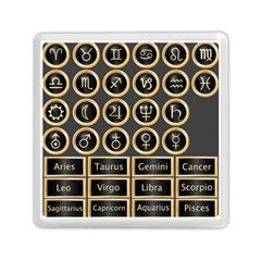 Black And Gold Buttons And Bars Depicting The Signs Of The Astrology Symbols Memory Card Reader (square)