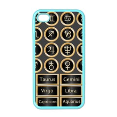 Black And Gold Buttons And Bars Depicting The Signs Of The Astrology Symbols Apple Iphone 4 Case (color)