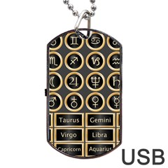 Black And Gold Buttons And Bars Depicting The Signs Of The Astrology Symbols Dog Tag Usb Flash (one Side)