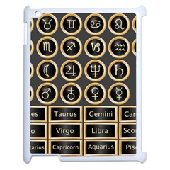 Black And Gold Buttons And Bars Depicting The Signs Of The Astrology Symbols Apple Ipad 2 Case (white)
