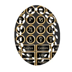 Black And Gold Buttons And Bars Depicting The Signs Of The Astrology Symbols Oval Filigree Ornament (two Sides)
