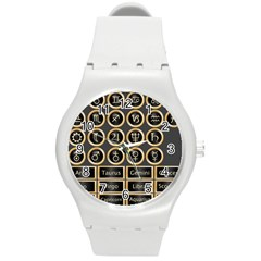 Black And Gold Buttons And Bars Depicting The Signs Of The Astrology Symbols Round Plastic Sport Watch (m)