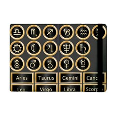 Black And Gold Buttons And Bars Depicting The Signs Of The Astrology Symbols Apple Ipad Mini Flip Case