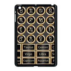 Black And Gold Buttons And Bars Depicting The Signs Of The Astrology Symbols Apple Ipad Mini Case (black)