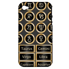 Black And Gold Buttons And Bars Depicting The Signs Of The Astrology Symbols Apple Iphone 4/4s Hardshell Case (pc+silicone)
