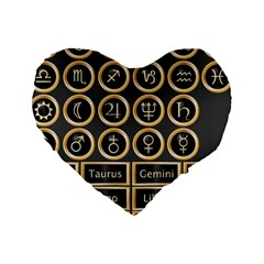 Black And Gold Buttons And Bars Depicting The Signs Of The Astrology Symbols Standard 16  Premium Heart Shape Cushions
