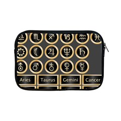 Black And Gold Buttons And Bars Depicting The Signs Of The Astrology Symbols Apple Ipad Mini Zipper Cases