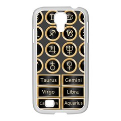 Black And Gold Buttons And Bars Depicting The Signs Of The Astrology Symbols Samsung Galaxy S4 I9500/ I9505 Case (white)