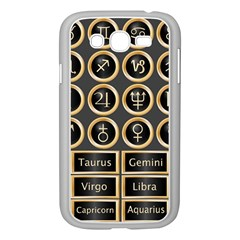 Black And Gold Buttons And Bars Depicting The Signs Of The Astrology Symbols Samsung Galaxy Grand DUOS I9082 Case (White)