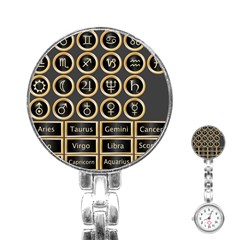 Black And Gold Buttons And Bars Depicting The Signs Of The Astrology Symbols Stainless Steel Nurses Watch