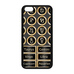 Black And Gold Buttons And Bars Depicting The Signs Of The Astrology Symbols Apple iPhone 5C Seamless Case (Black)