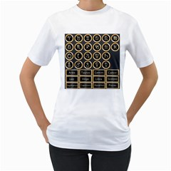 Black And Gold Buttons And Bars Depicting The Signs Of The Astrology Symbols Women s T Shirt (white)