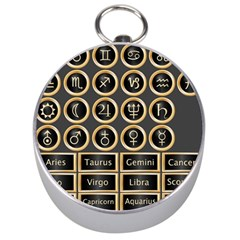 Black And Gold Buttons And Bars Depicting The Signs Of The Astrology Symbols Silver Compasses