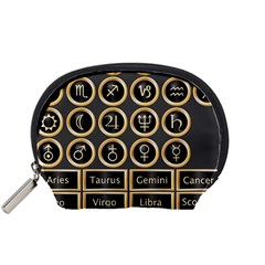 Black And Gold Buttons And Bars Depicting The Signs Of The Astrology Symbols Accessory Pouches (small)