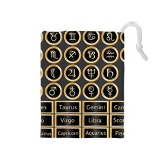 Black And Gold Buttons And Bars Depicting The Signs Of The Astrology Symbols Drawstring Pouches (medium)