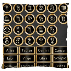 Black And Gold Buttons And Bars Depicting The Signs Of The Astrology Symbols Large Flano Cushion Case (one Side)