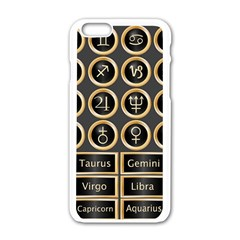 Black And Gold Buttons And Bars Depicting The Signs Of The Astrology Symbols Apple Iphone 6/6s White Enamel Case