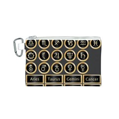 Black And Gold Buttons And Bars Depicting The Signs Of The Astrology Symbols Canvas Cosmetic Bag (s)