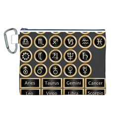 Black And Gold Buttons And Bars Depicting The Signs Of The Astrology Symbols Canvas Cosmetic Bag (l)