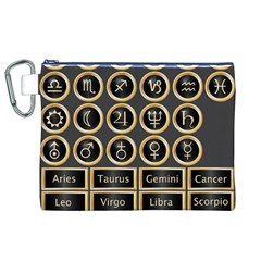 Black And Gold Buttons And Bars Depicting The Signs Of The Astrology Symbols Canvas Cosmetic Bag (xl)