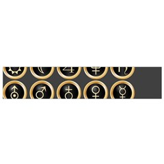 Black And Gold Buttons And Bars Depicting The Signs Of The Astrology Symbols Flano Scarf (small)