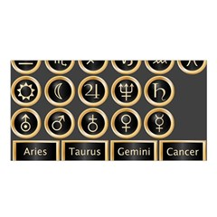 Black And Gold Buttons And Bars Depicting The Signs Of The Astrology Symbols Satin Shawl