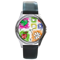 A Set Of Watercolour Icons Round Metal Watch