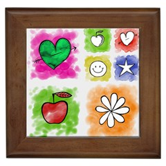 A Set Of Watercolour Icons Framed Tiles