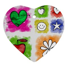 A Set Of Watercolour Icons Ornament (heart)