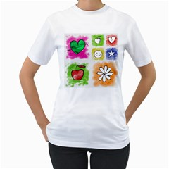 A Set Of Watercolour Icons Women s T Shirt (white) (two Sided)
