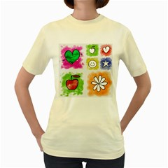 A Set Of Watercolour Icons Women s Yellow T Shirt