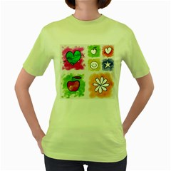 A Set Of Watercolour Icons Women s Green T Shirt