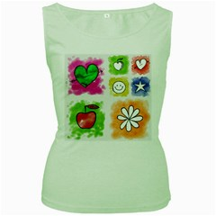 A Set Of Watercolour Icons Women s Green Tank Top