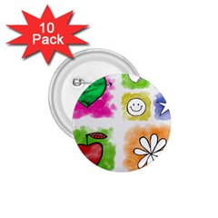 A Set Of Watercolour Icons 1 75  Buttons (10 Pack)