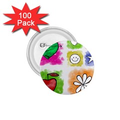 A Set Of Watercolour Icons 1 75  Buttons (100 Pack)